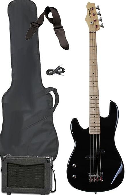 Davison Guitars Full Size Electric Bass Guitar Starter Beginner Pack With Amp Case Strap Package Black