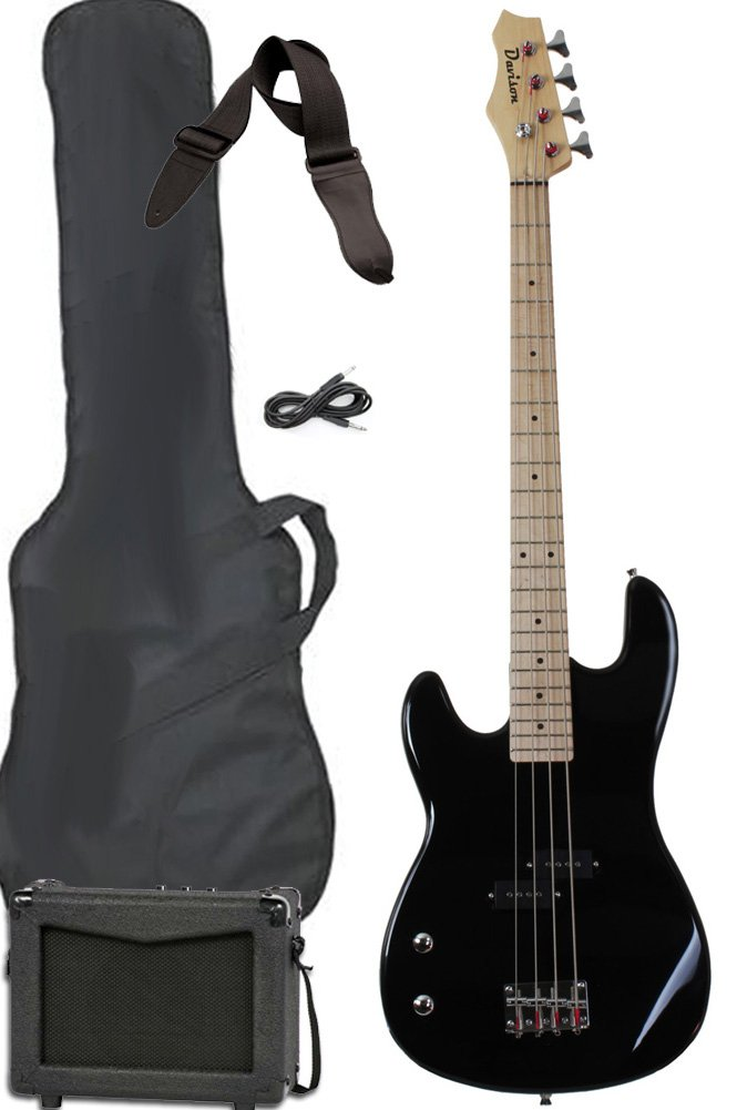Davison Guitars Full Size Electric Bass Guitar Starter Beginner Pack with Amp Case Strap Package Black Left Handed