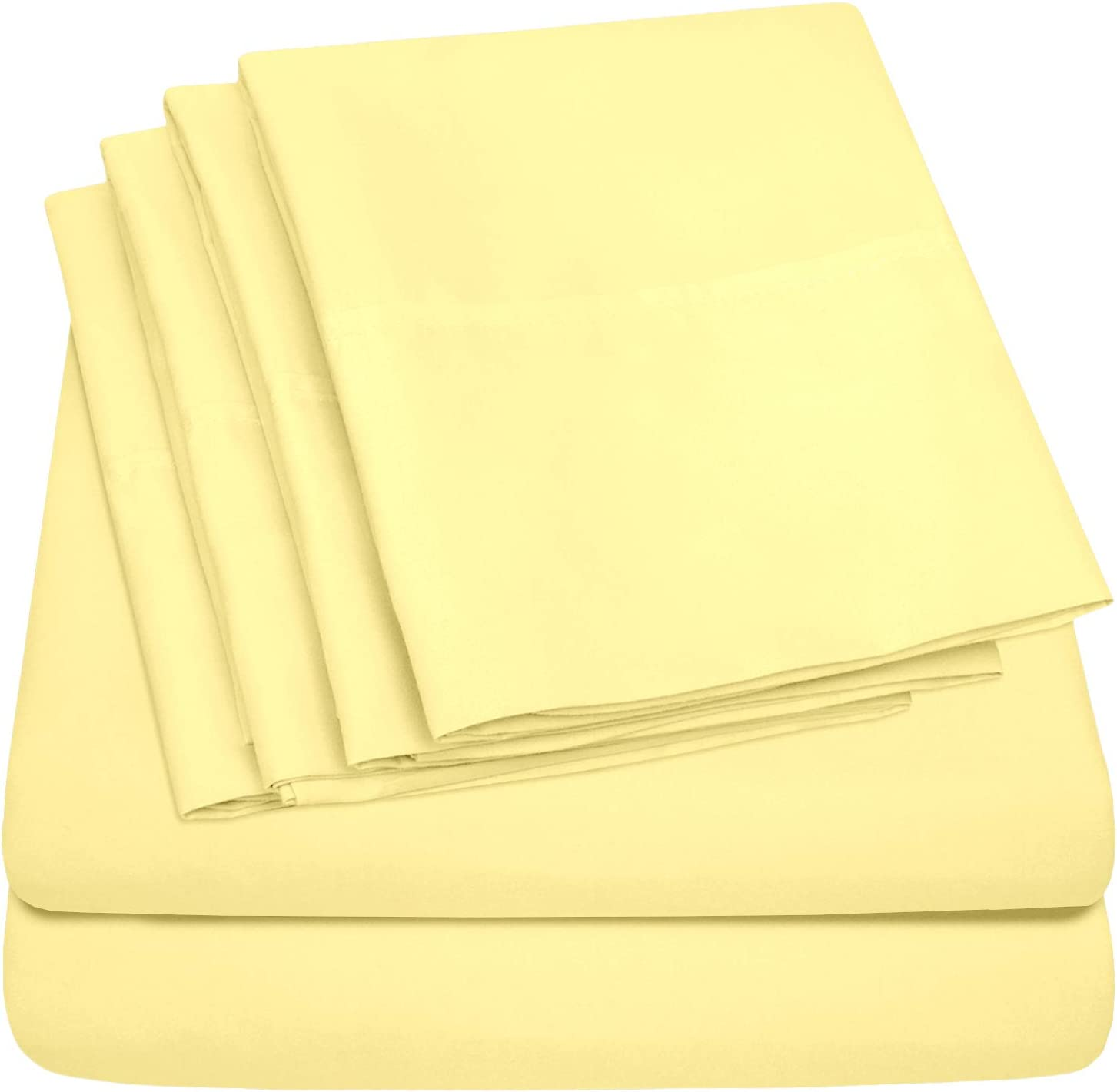 Sweet Home Collection 6 Piece Bed Sheets 1500 Thread Count Fine Microfiber Deep Pocket Set - EXTRA PILLOW CASES, VALUE, Twin XL, Pale Yellow, 4