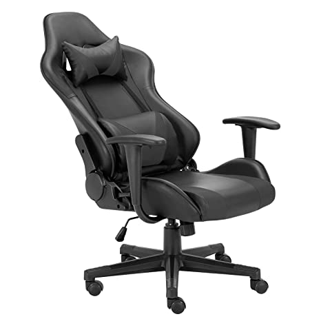 Truker Gaming Chair Office Chair Racing Chair Home Desk Chair Lumbar Support Neck Protection Racing Style 180° Reclining Rocking Function Armrest ...