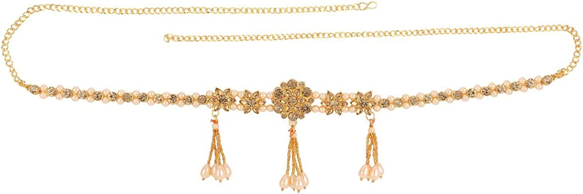BOLLYWOOD COSTUME JEWELRY LONG WAIST CHAIN BRONZE GOLD CRYSTAL STONES