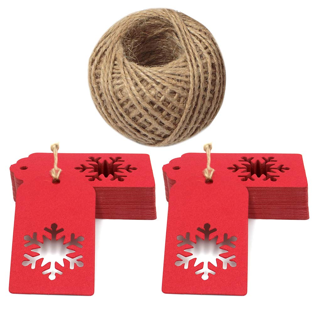 100pezzi etichette per regali di Natale, rettangolare, in carta kraft cartellini etichette con lovely Hollow Snowflake for Christmas day con 100piedi spago di iuta (9.5x 5cm) White JIJA