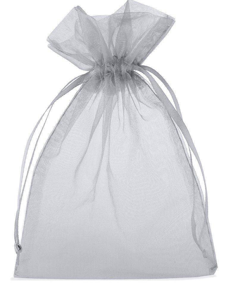 10 Stück Organzabeutel, Organzasäckchen, Größe 40x30 cm (Höhe x Breite), Farbe silber, mit Satinband zum Zuziehen- die ideale Geschenkverpackung 10 Stück Organzabeutel Organzasäckchen organzabeutel24