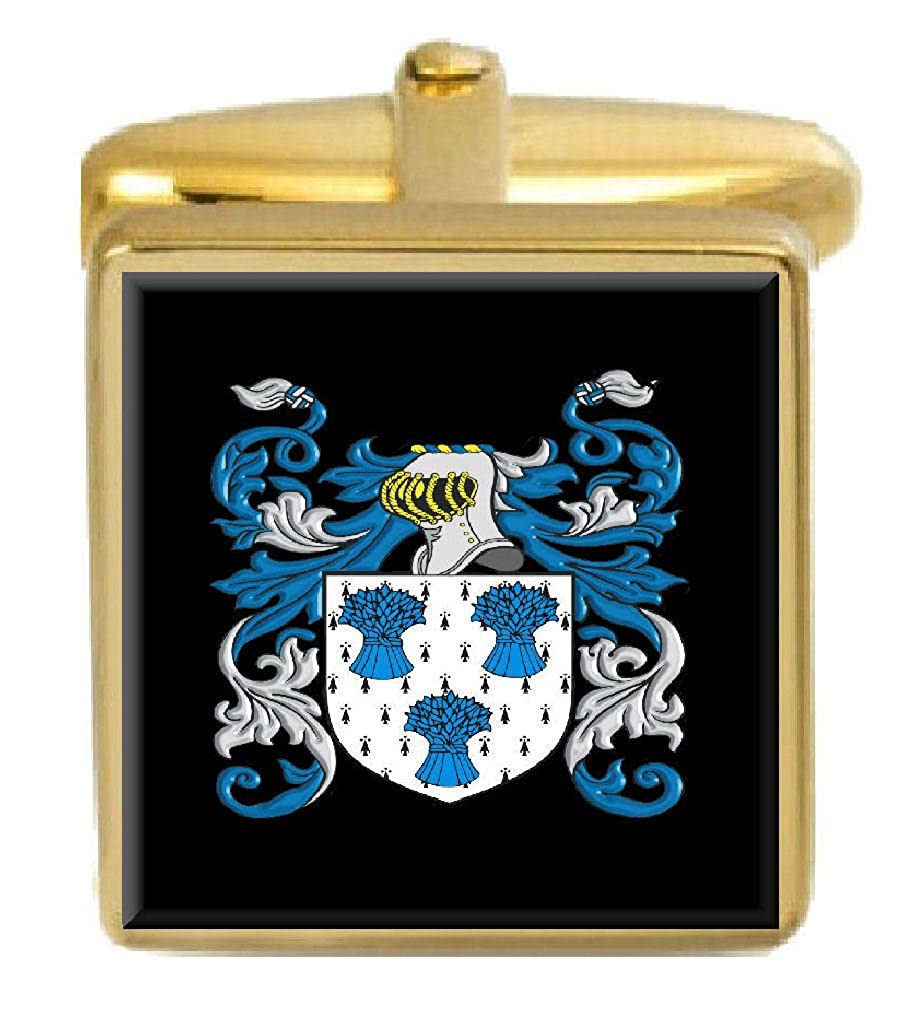 Select Gifts Hockin England Family Crest Surname Coat Of Arms Gold Cufflinks Engraved Box