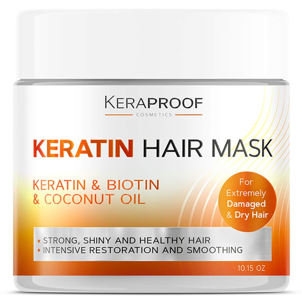 Keraproof - Biotin & Keratin Collagen Hair Mask - Treatment for Dry & Damaged Hair - Collagen Hair Vitamin Complex - Best Hair Repair for Women & Men - Hair Nourishment with D-Panthenol 10.15 Oz