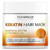 Keraproof - Biotin & Keratin Collagen Hair Mask - Treatment for Dry & Damaged Hair - Coconut Oil Hair Vitamin Complex - Best Hair Repair for Women & Men - Hair Nourishment with D-Panthenol 10.15 Oz