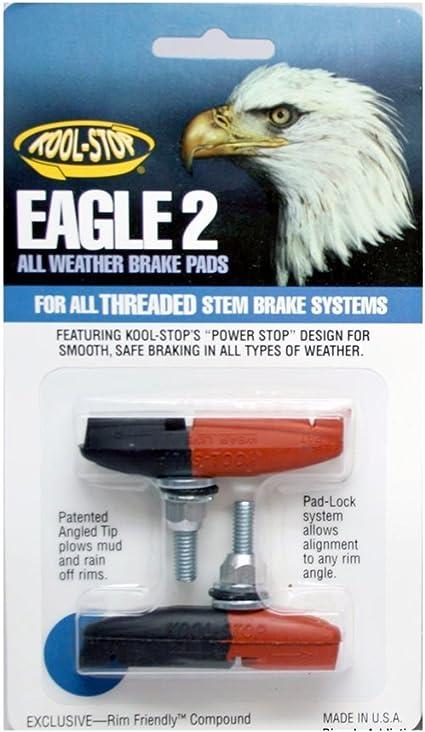 MADE IN USA PAIR Kool Stop bicycle bike Eagle 2 II THREADED brake pads YELLOW
