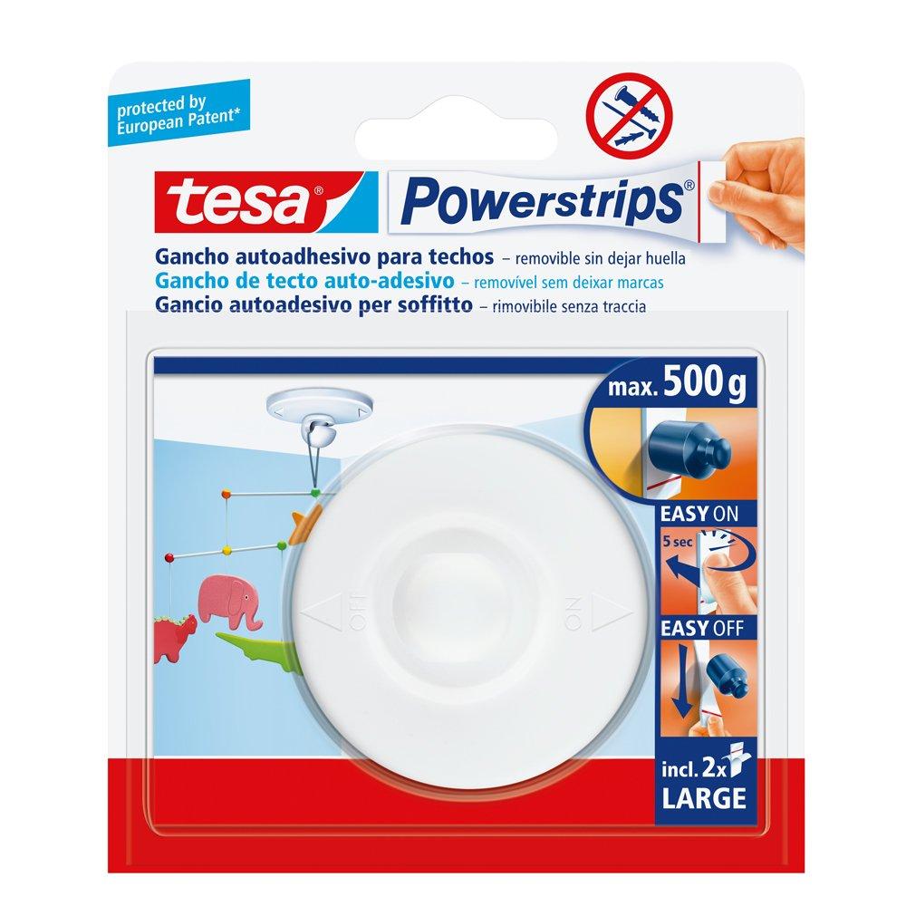 Tesa 58029-00021-01 - White ceiling Hook + 2 Large Strips