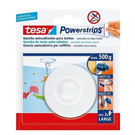 TESA TE58029-00021-01 Gancho a Techo Blanco + 2 Tiras Grandes, Standard