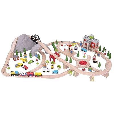 Bigjigs Rail Wooden Mountain Railway Set - 112 Play Pieces: Toys & Games