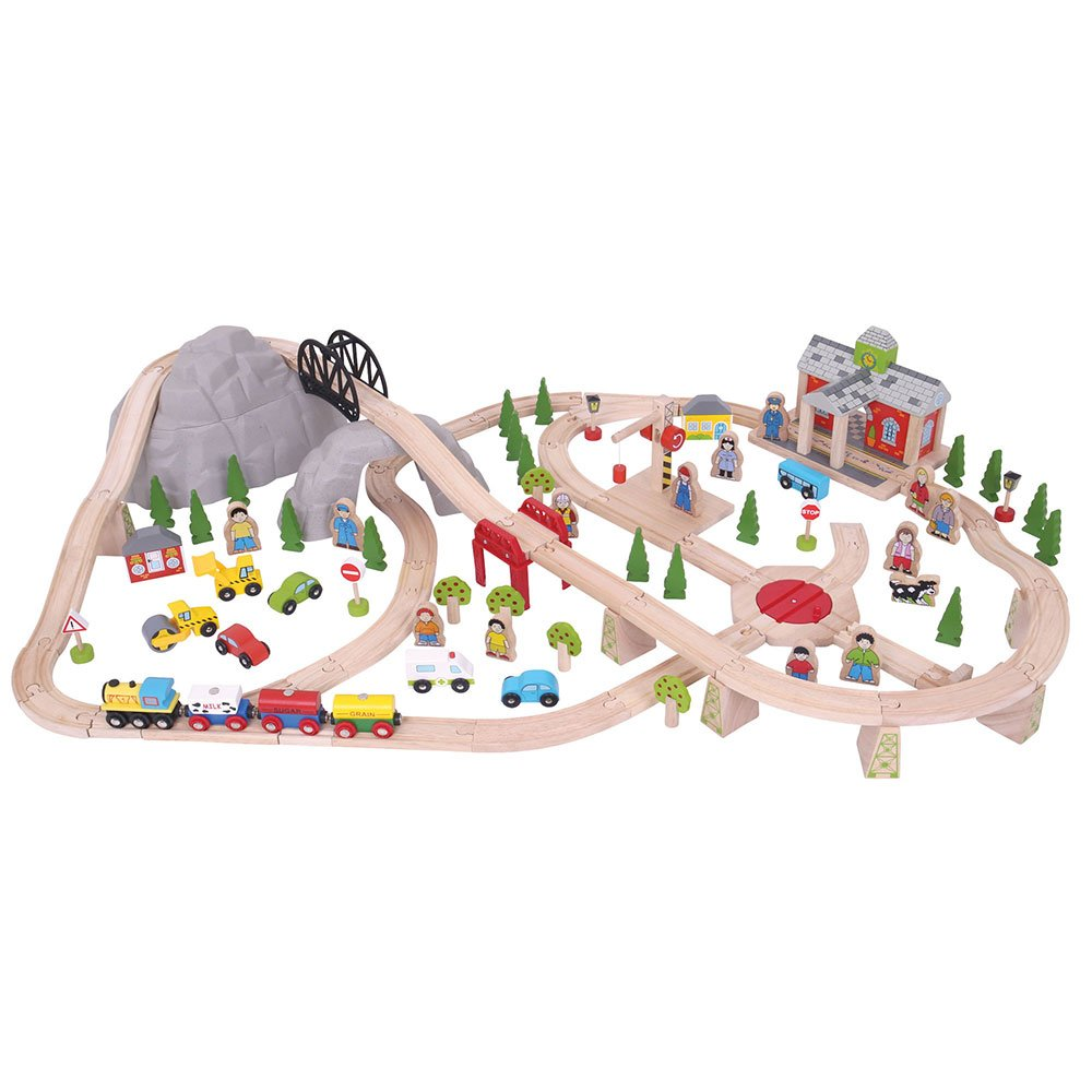 Bigjigs Rail Wooden Mountain Railway Set  112 Play Pieces