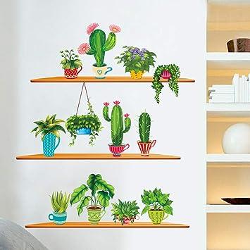 Pegatinas De Pared De Arte De Estilo Nórdico Cactus Plant Plotted ...