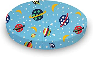 product image for SheetWorld 100% Cotton Percale Round Crib Sheet, Planets Blue, 42 x 42, Made in USA