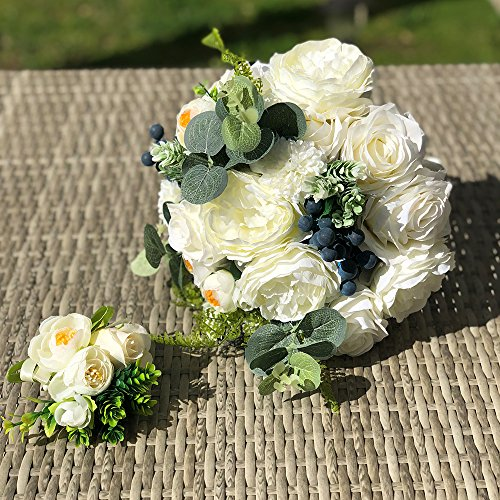 Abbie Home White Rose Wedding Bridal Bouquet for Spring Garden Wedding Flower with Green Leaves Décor (D562)