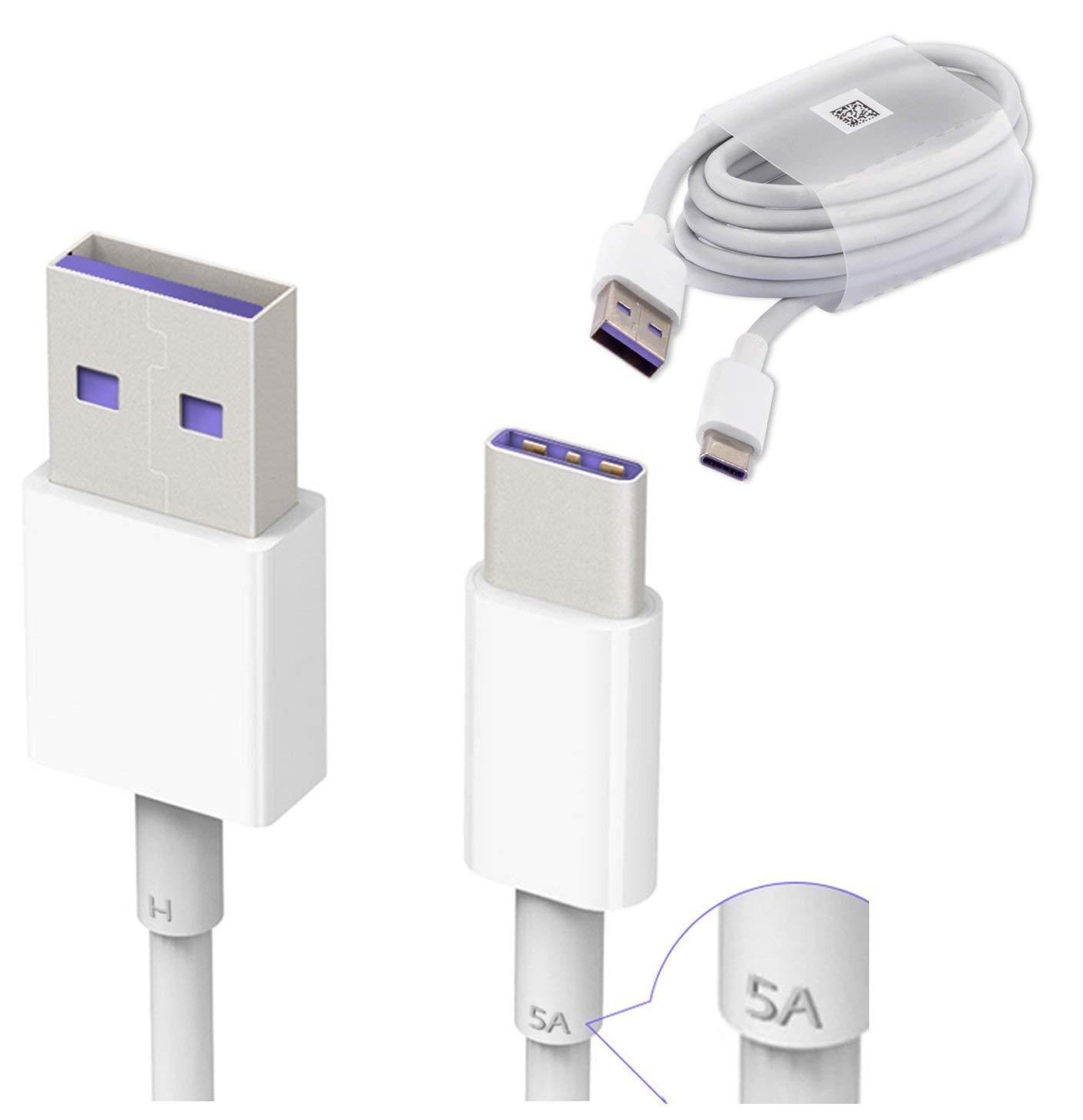 Huawei HL1289 5A USB 3.1 Tipo C Superfast Cable de datos de carga para Huawei P9/P9 Plus/P10/P10 Plus/Mate 9/Nova/Nova 2 – Color blanco (empaquetado a ...
