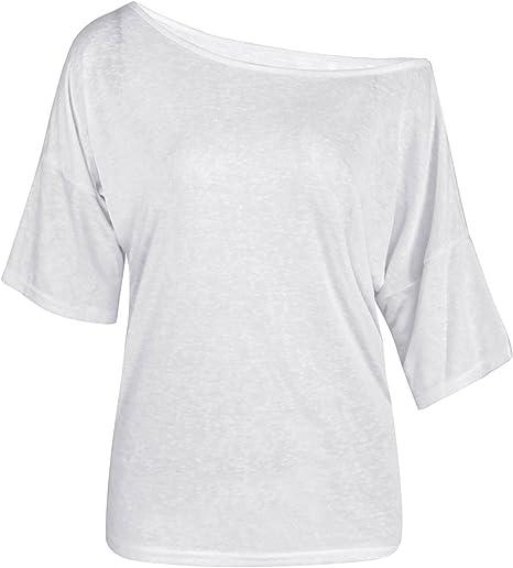 TININNA Moda Camiseta,Mujer Verano Casual Suelto Manga Corta Blusa de Las Tapas Ocasionales de la Camiseta Tops-Blanco L