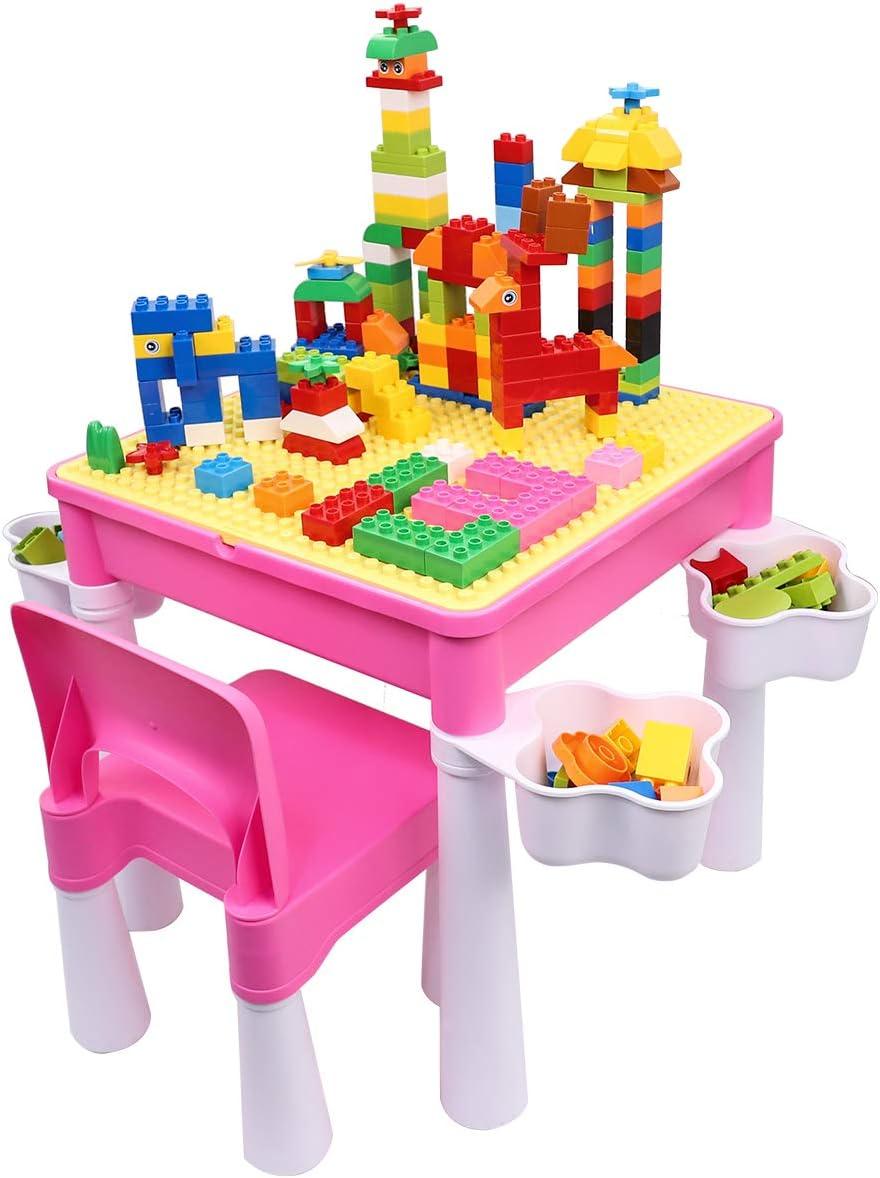 Scrivania per Bambini con 1 Sedia e Mattoni da 128 Pezzi burgkidz Set Tavolo e Sedia per Bambini Tavolo da attivit/à in Plastica Rosa con Piastra di Base per Bambine