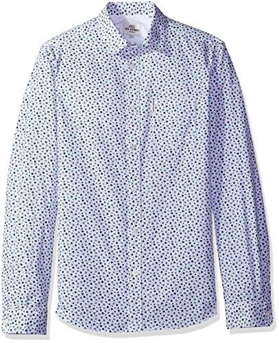 Ben Sherman Men's Longsleeve Geo Prt Shirt, Bright White,...