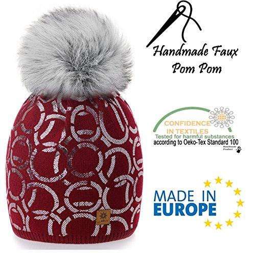 pom 4sold maglia con Girls Ski Ski grande Burgund Winter in Bobble Circle modello Women lana Fodera Fleece 1 Cap di wRprqwvn