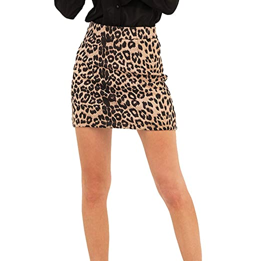 75964935fe90 Fashion Ladies Sexy High Waist Leopard Print Show Thin A-Shaped Skirt at  Amazon Women's Clothing store: