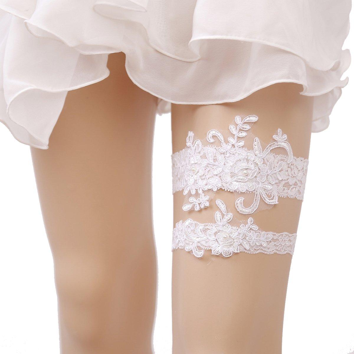 OURIZE Wedding Lace Garter for Bridal Rhinestones Garter Belt Set