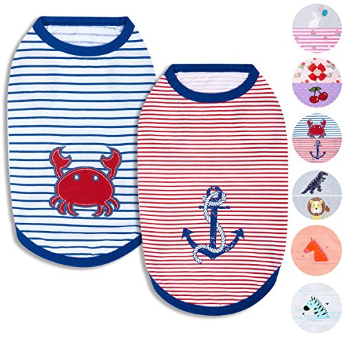"""Blueberry Pet Pack of 2 Soft & Comfy Sunshine Sea Lover Cotton Blend Dog Shirts Tank Top, Back Length 16"""", Clothes for Dogs"""