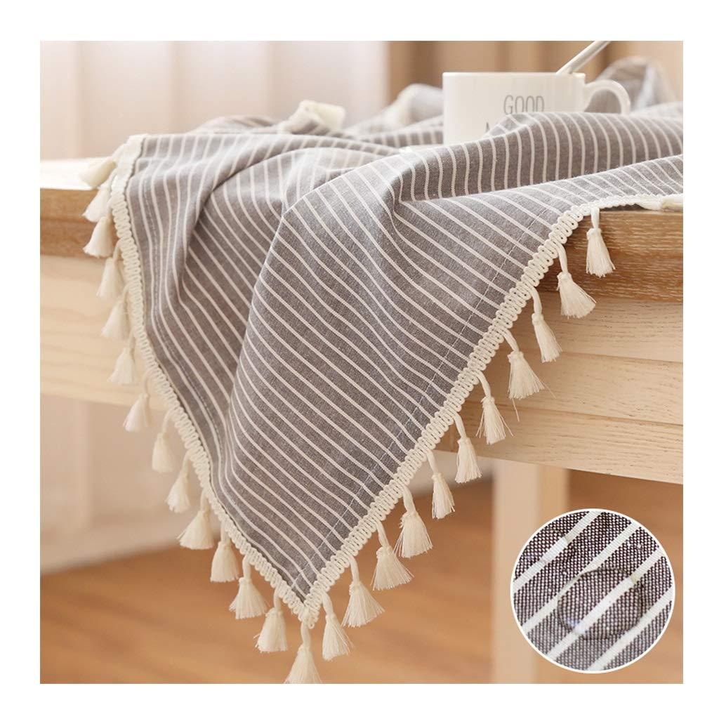E 140220cm LLH Nappe de table ronde de nappe de table imperméable de ménage de coton et de lin de nappe de grille avec le gland ZHUOB (Couleur   F, taille   140  200cm)