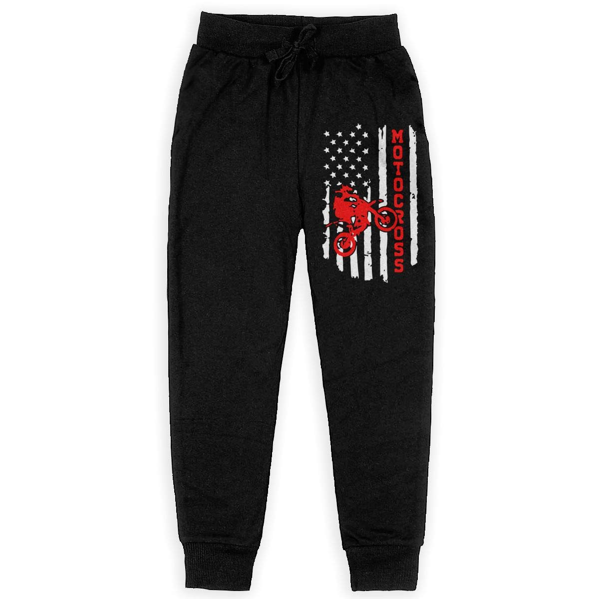 MAOYI/&J6 American Flag Motocross Dirt Bike Long Sweatpants Teenager Boys Girls Jogger Pants with Pockets