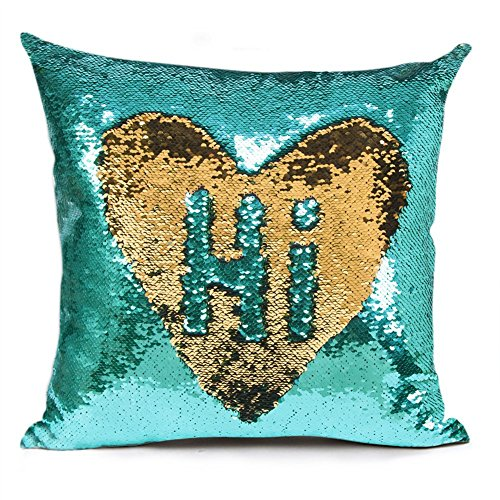 "URSKYTOUS Reversible Sequin Pillow Case Decorative Mermaid Pillow Cover Color Changing Cushion Throw Pillowcase 16"" x 16"",Turquoise and Gold"