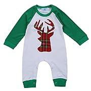 Canis Unisex Newborn Baby Boys Girls Christmas Romper Long Sleeve Lattice Deer Jumpsuit (12-18M, Green)