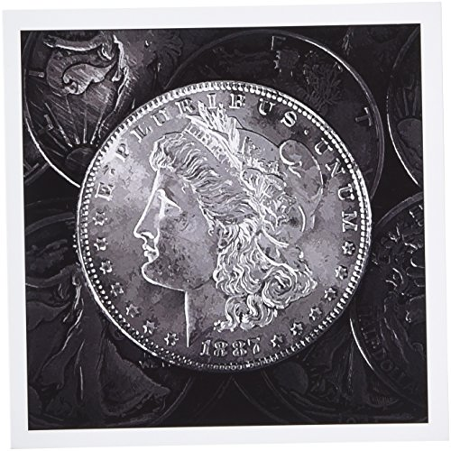 (3dRose 1887 Liberty Silver Dollar - stylized photograph of vintage coins - Greeting Cards, 6 x 6 inches, set of 12 (gc_173465_2) )