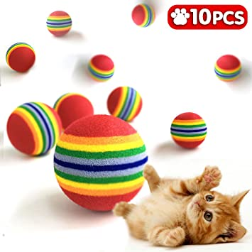iNeith Gato Bolas Juguete Animal Espuma del Arco Iris Colorido Suave para Perro Cachorro Kitty Tren y Juego 3.5cm 10 Pcs: Amazon.es: Productos para mascotas