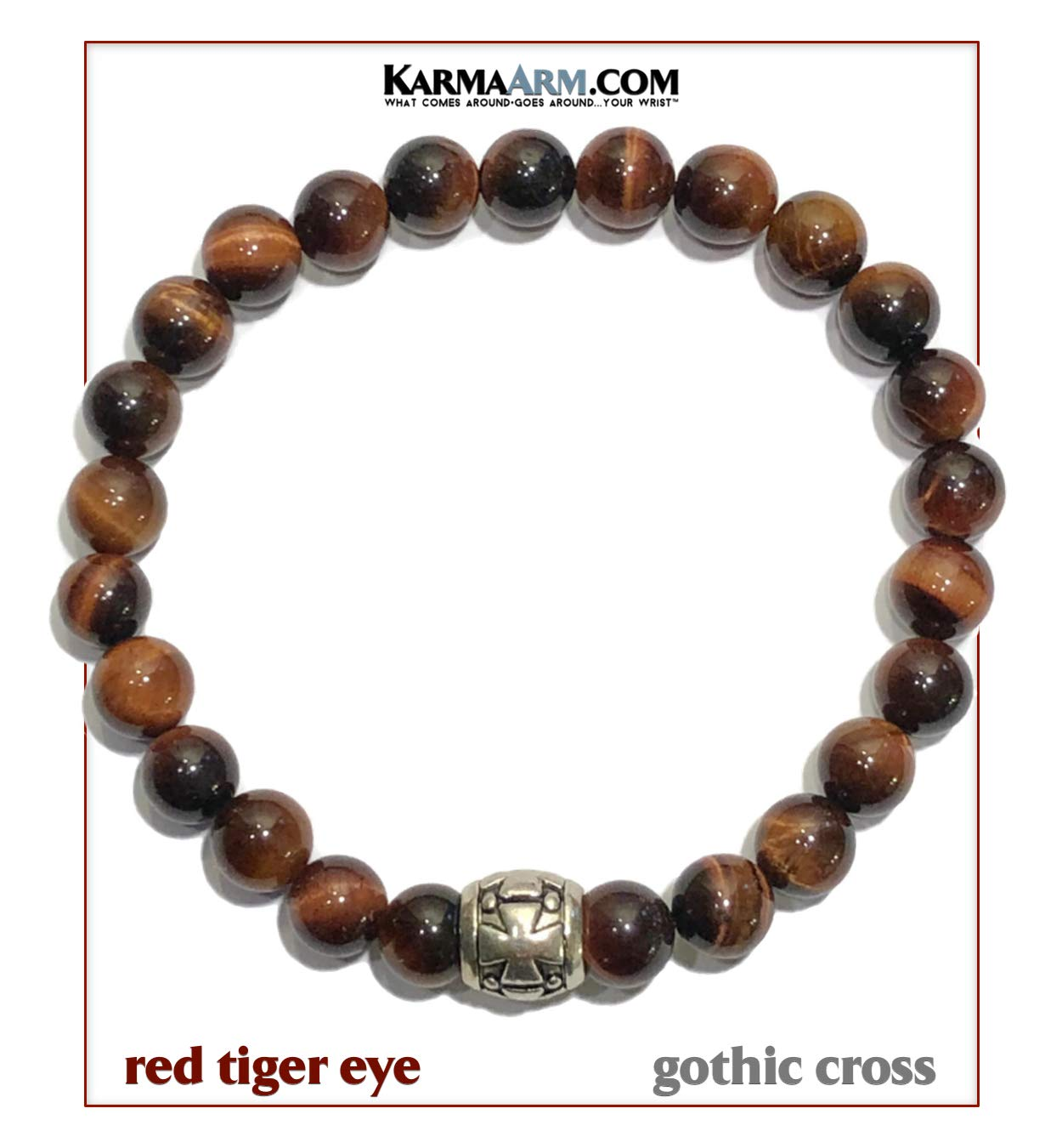 KarmaArm Trust | Red Tiger Eye Cross Bracelet | Mantra Meditation Prayer Wristband | Reiki Healing Energy Bead Zen Self-Care Yoga Jewelry (7.5)