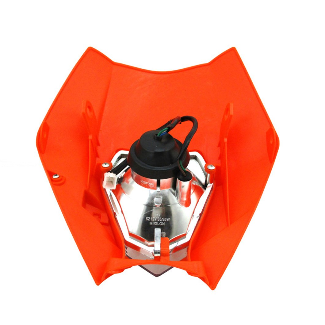 XLYZE Motorcycle Headlight Front Light Fairing Orange for KTM R SX EXC XC XCF SXF 65 85 105 250 350 450 525 XR WR CR RMZ DR DRZ KLX 250 Dirt Pit Bike