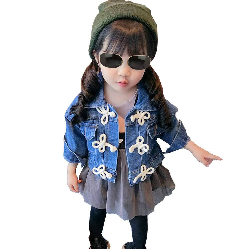 CosSky Little Girls Denim Jean Jacket Toddler Denim Coat Outwear (4, Blue)