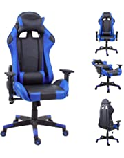 jeffordoutlet Office Racing Gaming Chair Adjustable Armrest & Backrest Swivel Ergonomic PU Leather Recliner Chairs with Head & Lumbar Pillow