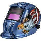 KKmoon Masque de Soudure Automatique Auto Assombrissement de Solaire UV/IR Protection jusqu'à 16 DIN à l'arc Mig Tig broyage Aigle (Bleu)