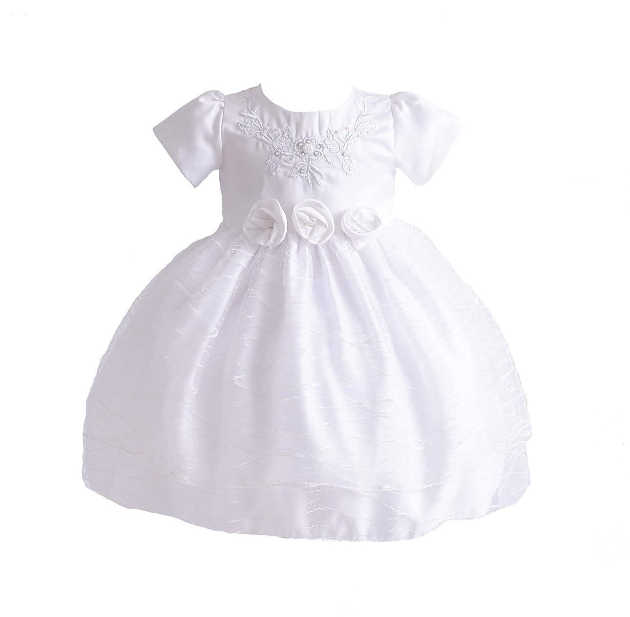 Cinda Baby Girl White Embroidered Christening Dress Party Dress GZ2304