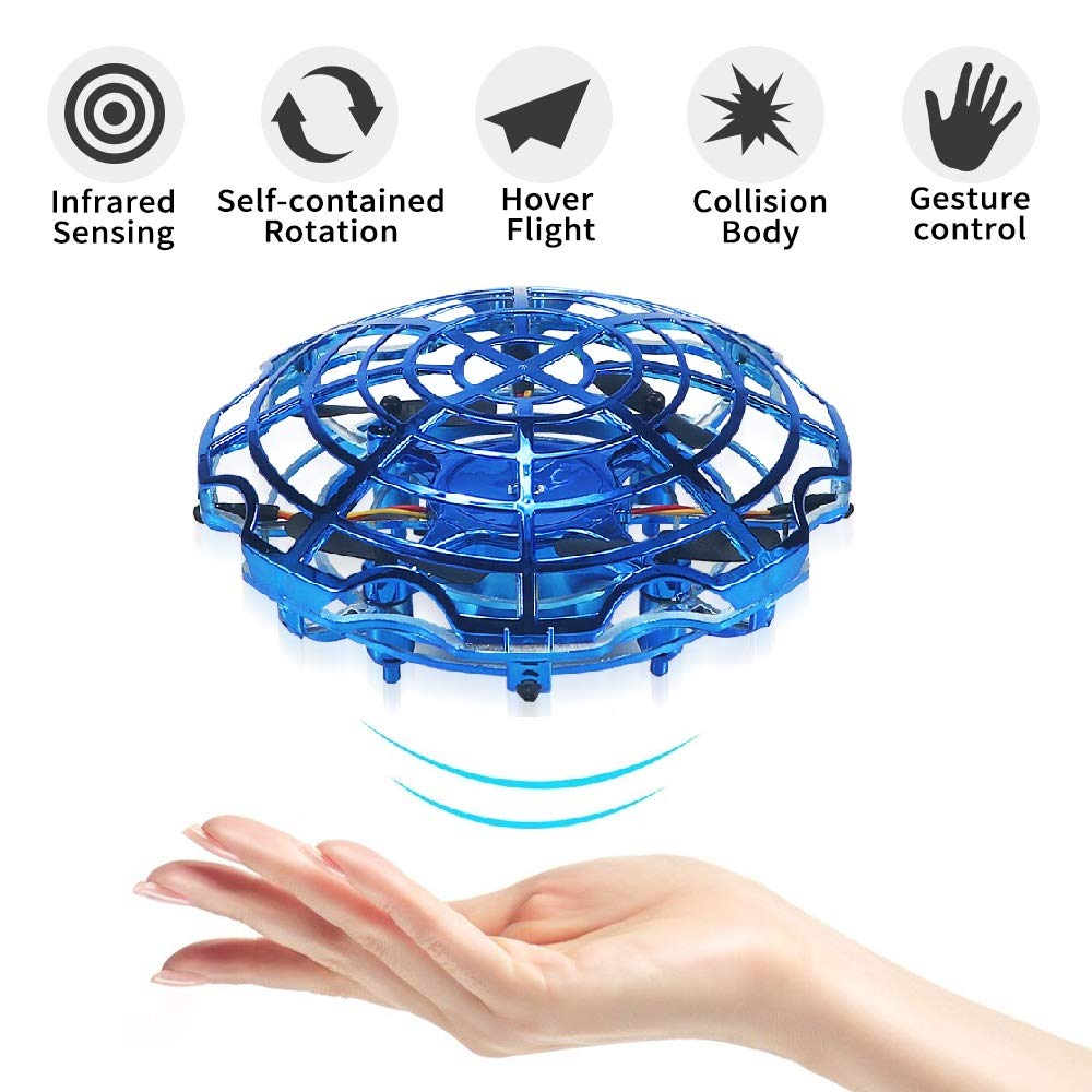 UFO Flying Toys, Sikaye Funny Hand-Controlled Mini Drones Infrared Induction Free Hover Automatic Sensing Obstacle Four Propellers Aircraft, with Simple Remote Control (Electroplating Blue)
