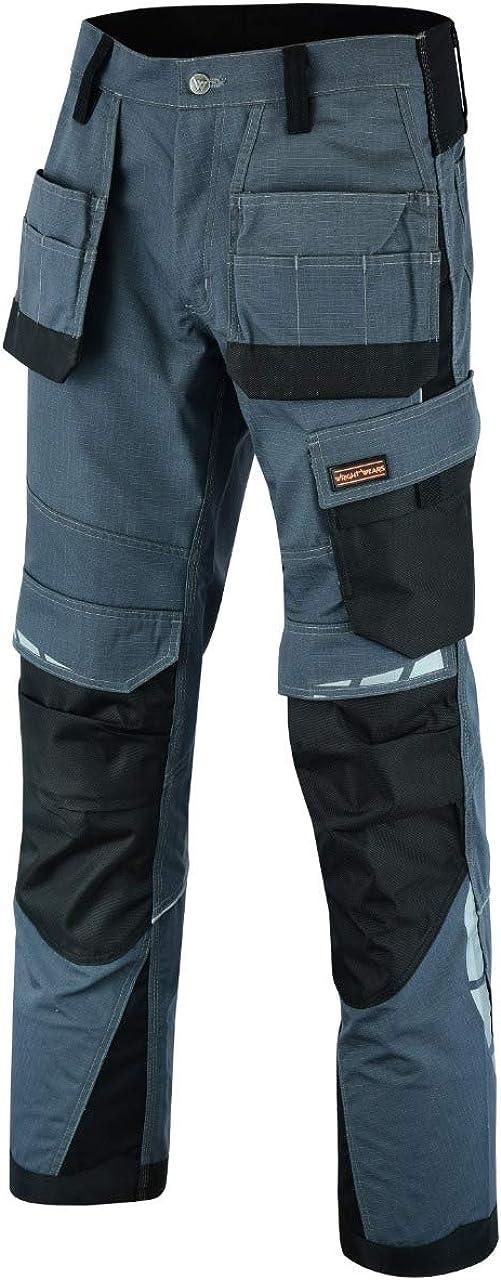 Wright Wears Men Work Deluxe Holster Cargo Trouser Grey /& Black Multi Pockets /& Knee Pad Pockets