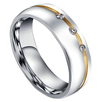 AMDXD 6Mm Pareja Anillo De Matrimonio Acero Inoxidable Hombres Mujeres Promesa Anillos Infinito Cz Amor: AMDXD: Amazon.es: Joyería