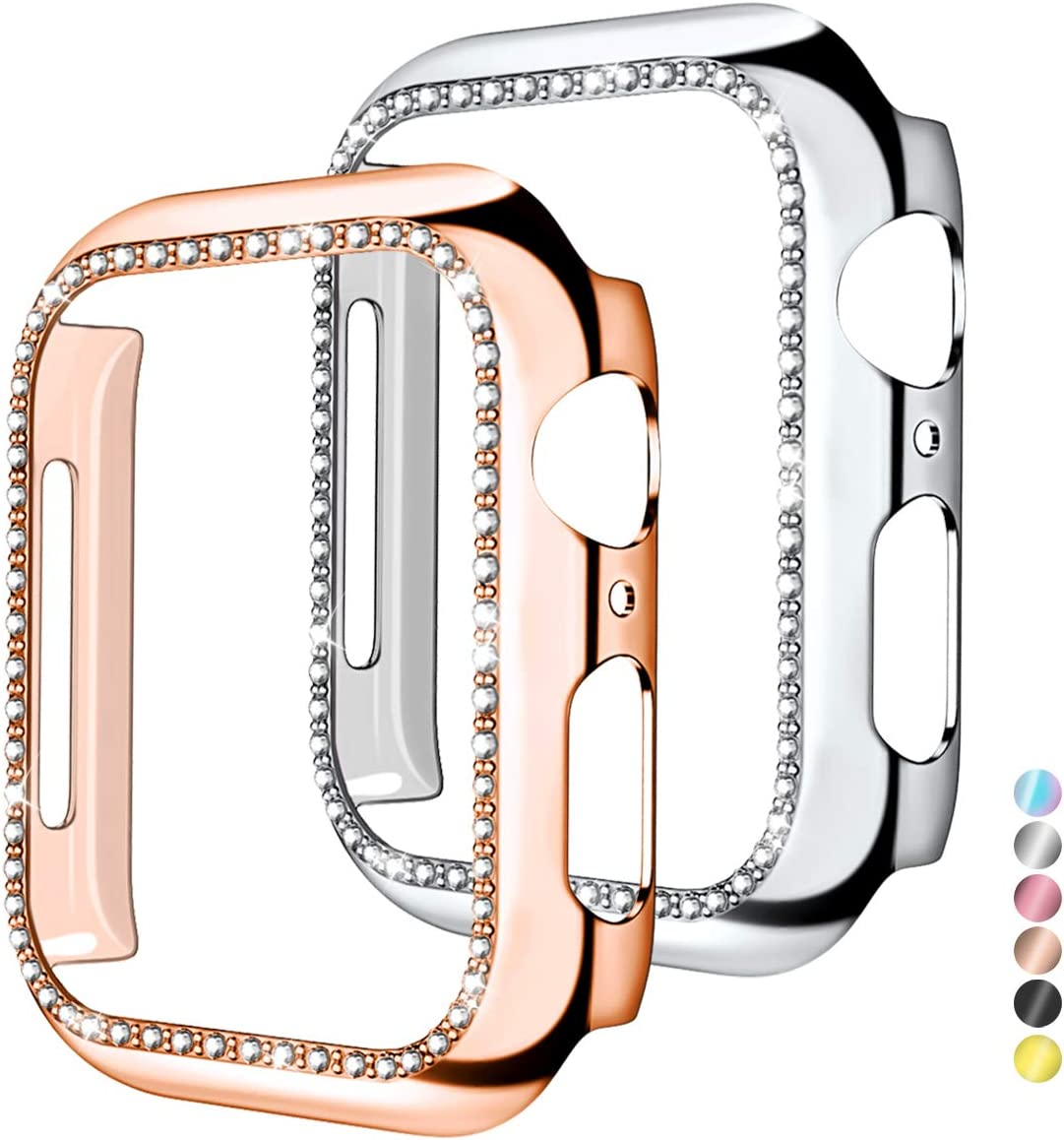 Mastten 2-Pack Case Cover Compatible with Apple Watch 38mm, Bling Diamond Bordered Protector Compatible with Series 3 2 1, Rose Gold+Silver