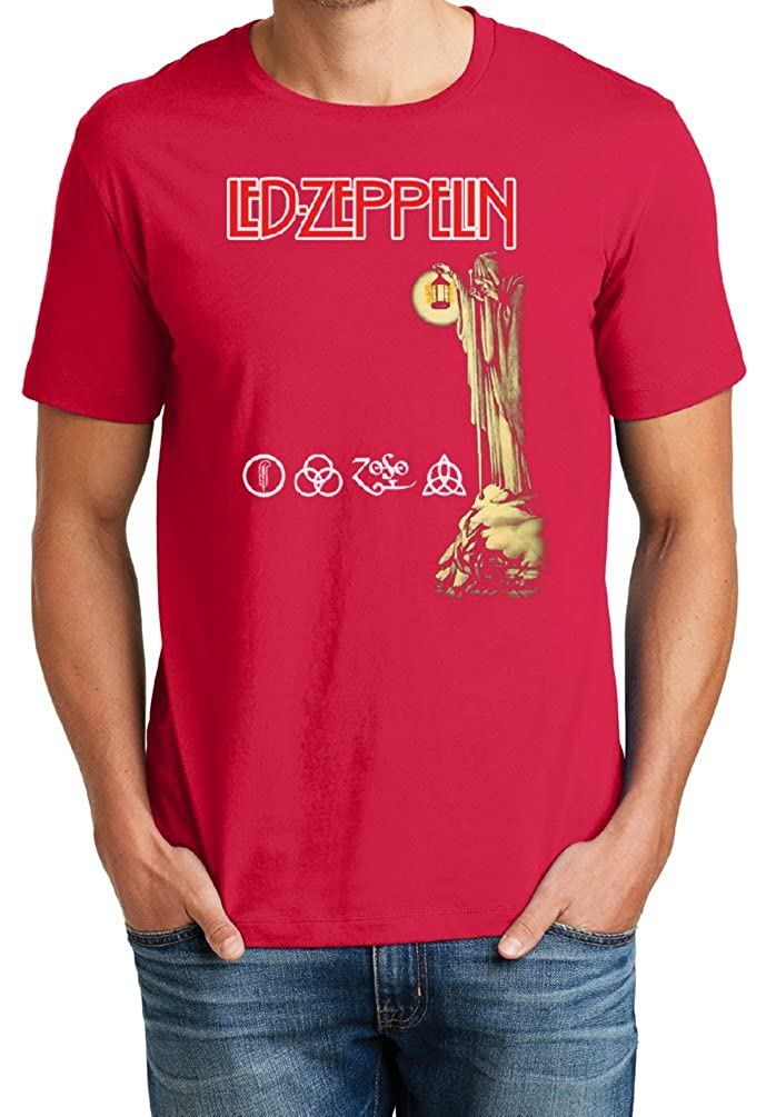 Mens Soft Cotton Led Zeppelin Stairway to Heaven Lantern Man Graphic Tee