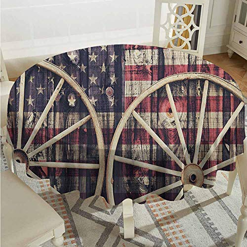 XXANS Indoor/Outdoor Round Tablecloth,Western,Antique Cart Carriage Wheels with American Flag in Retro Vintage Colors New World Print,Table Cover for Home Restaurant,60 INCH,Multi