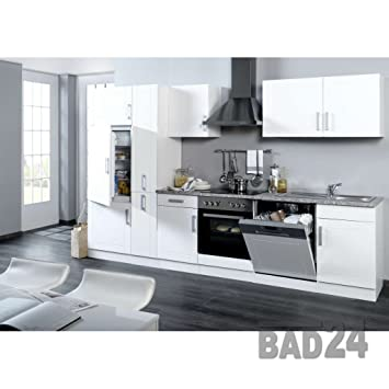Küchenzeile 310 vario inkl e geräte apothekerschrank hochglanz weiss weiss
