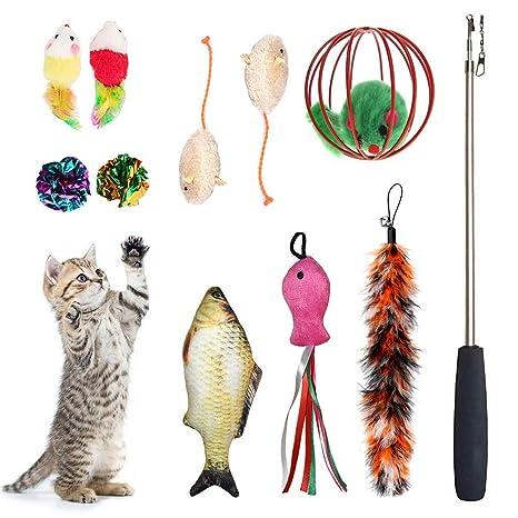 Amazon.com: laamei Juego de juguetes para gatos 11 piezas ...