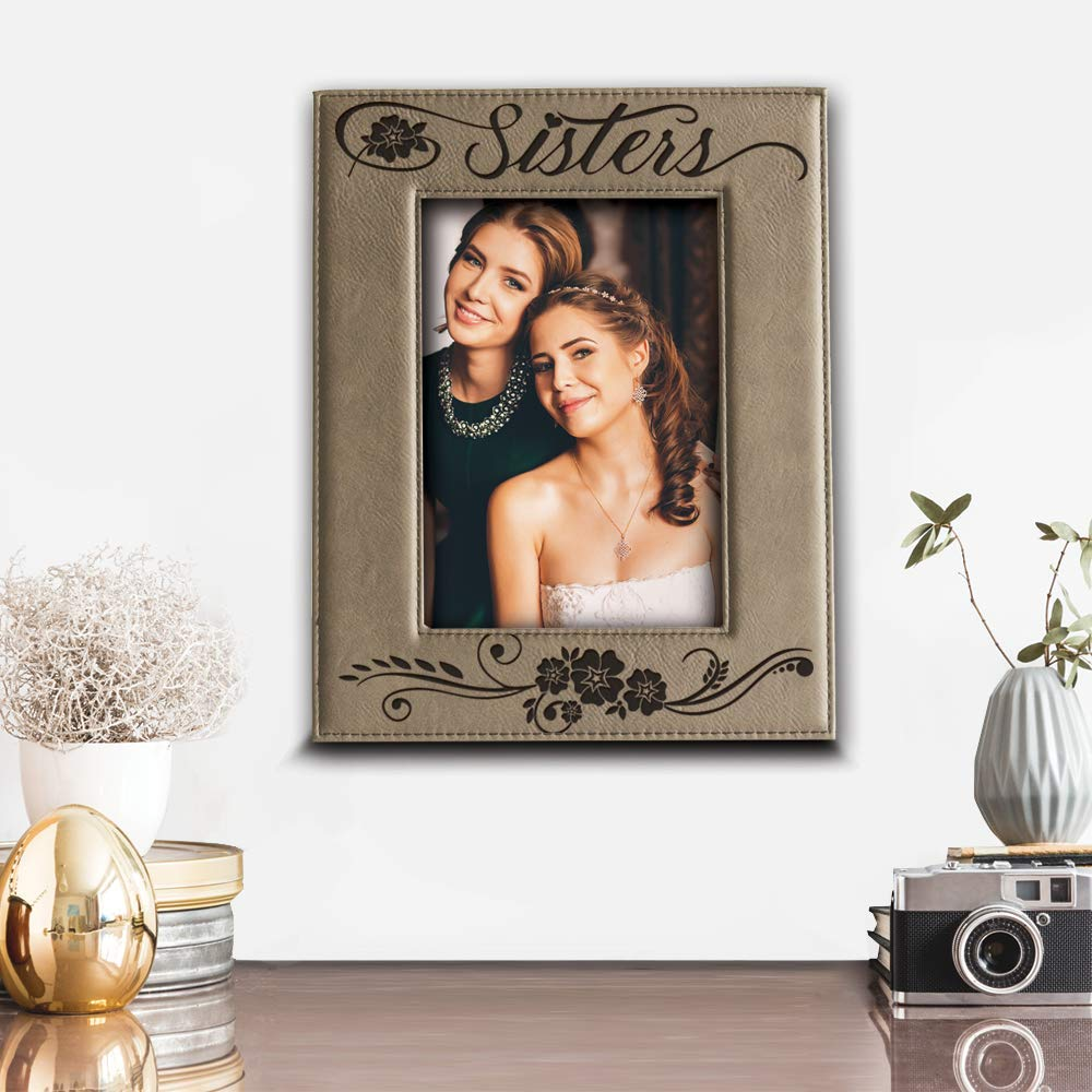Sisters BELLA BUSTA- Sisters Picture Frame- Gift for Sister- Gift for Parents- Engraved Leather Picture Frame 4x 6 Vertical