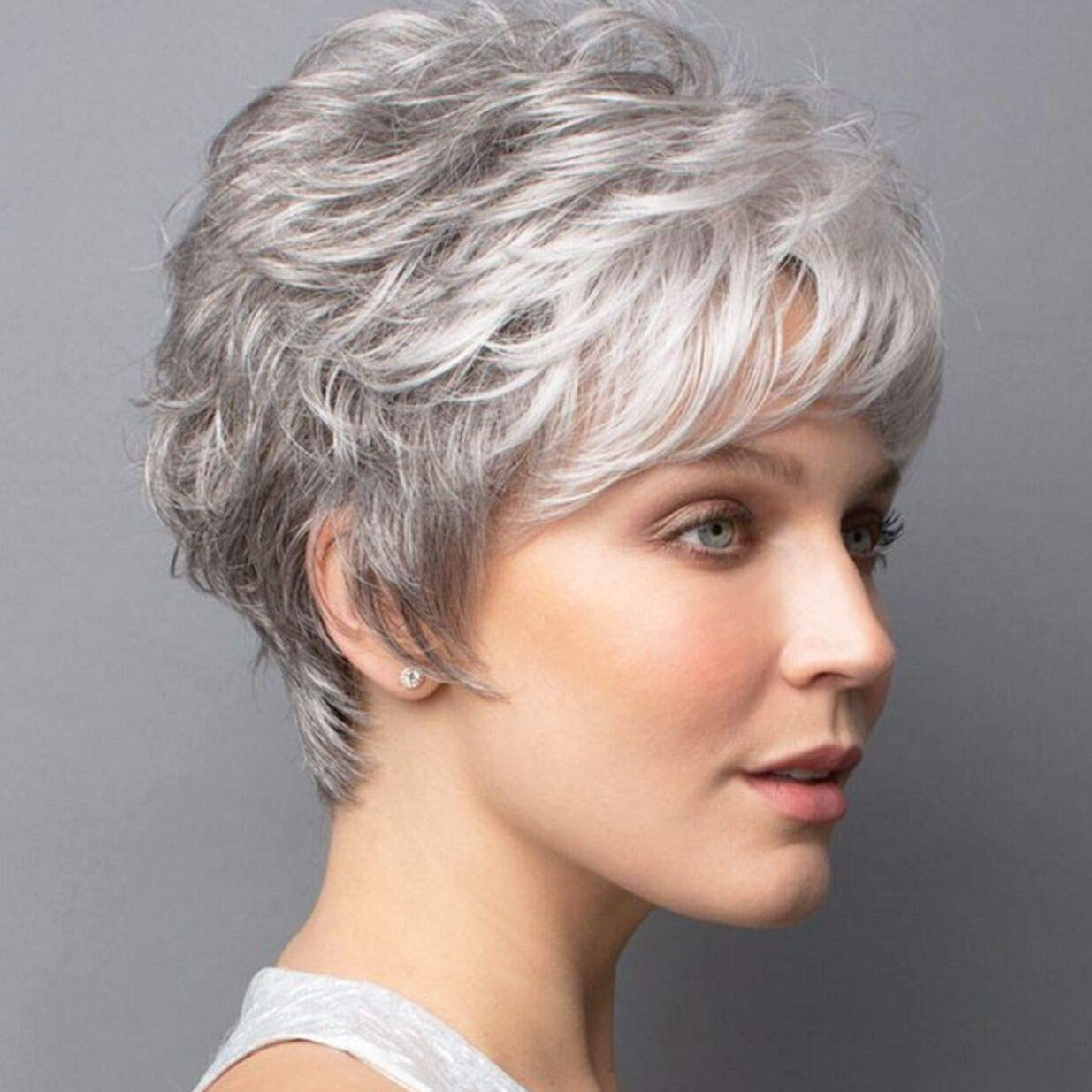 Amazon Com Elim Gray Wigs For White Women Short Curly Female Wig Full Synthetic Hair Womens Wigs With Wig Cap Z140 Beauty
