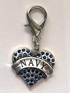 product image for Diva-Dog Blue Crystal 'Navy Heart' Dog Collar Charm
