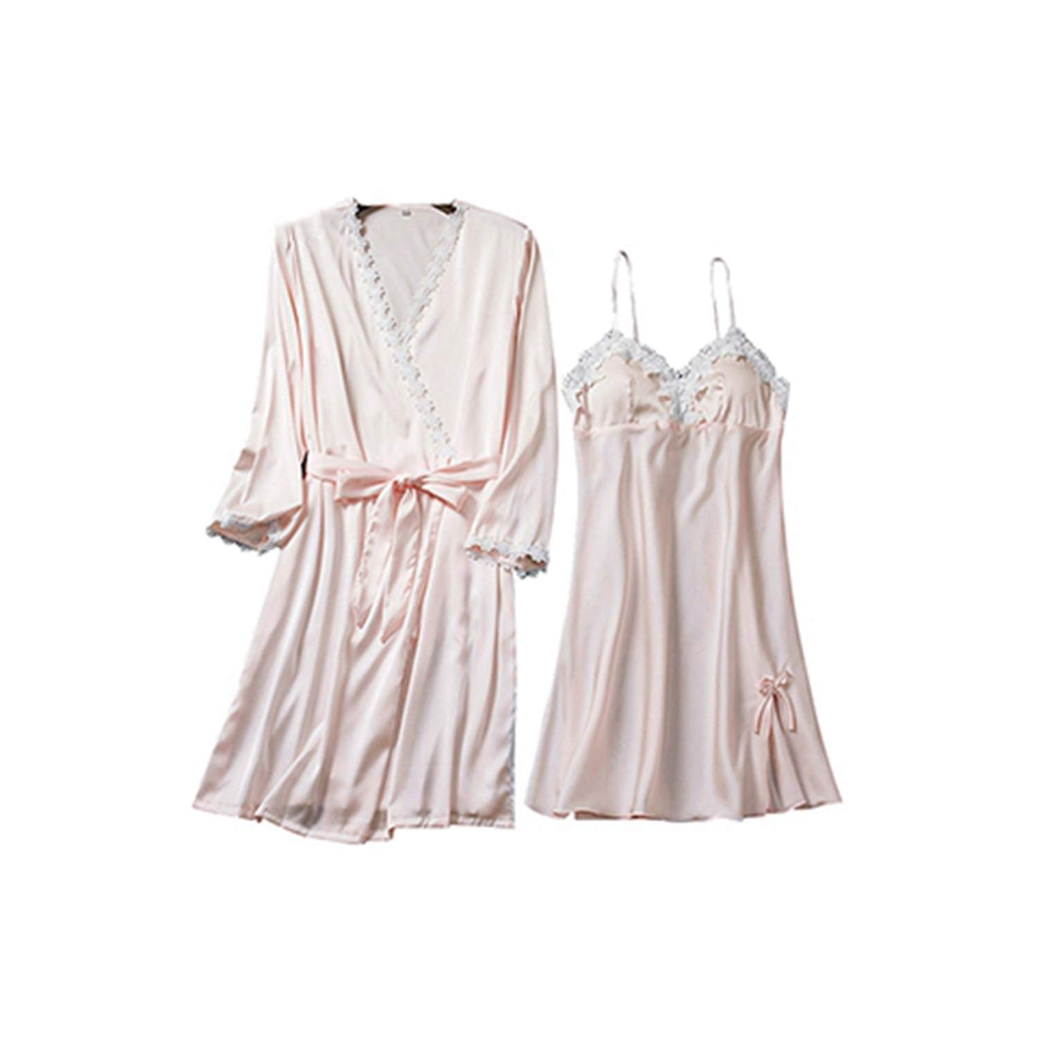 Light pink Tellusa Fashion Sling with Chest pad Two Pieces Silk Robe Sexy Women Robes Sleepwear Nightgown Dress Woman Pajamas